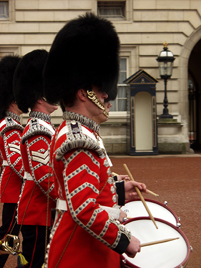 Changing of the Guard at Buckingham Palace. - click thumbnail image to view full size image.