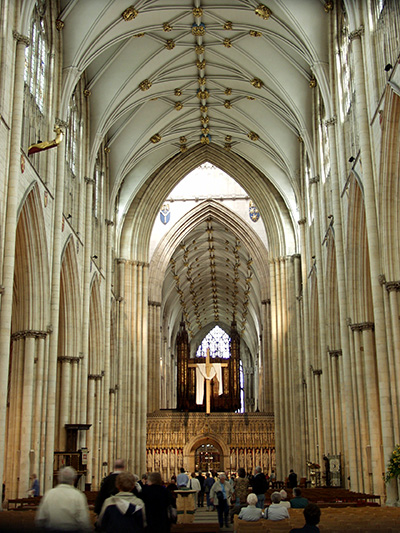 Inside the beautiful Cathedral of York - click thumbnail image to view full size image.