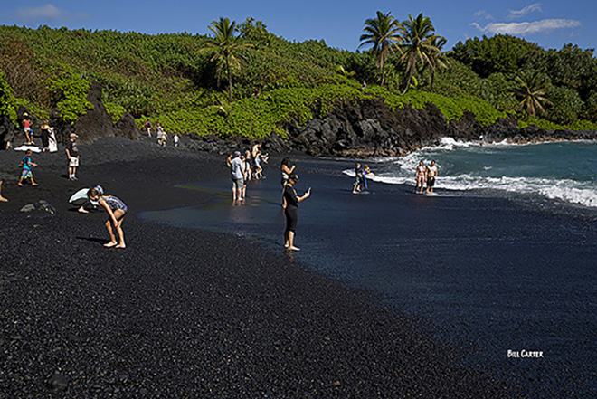 Black Sand Beach - click thumbnail image to view full size image.